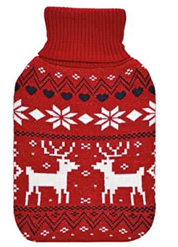 Tolle W/ärmflasche mit Strickbezug im Effektgarn und Rollkragen Farbe rot ideal auch als W/ärmekissen G.W 2 Liter F/üllmenge Bezug abnehmbar sicher und langlebig Ma/ße 33 x 20 x 3 cm