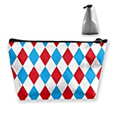 Patrón de arlequín en rojo y azul Bolsa de maquillaje Bolsa de maquillaje Organizador de bolsos con cremallera