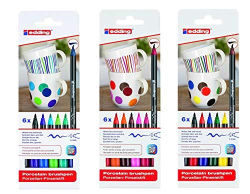 edding 4200 Porzellan Pinselstift (auch für Glas und Keramik). Zum spülmaschinenfesten bemalen und beschriften von Geschirr, Tassen und Gläsern 3X 6er Set