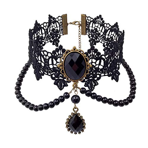 Alaxy Vintage Choker Necklace Gothic False Collar Statement Black Lace Necklace for Women Accessories Lady Party Jewelry