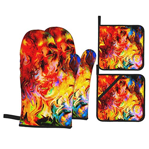 N\ A Oven Mitts and Potholders Set of 4 Fire Flames Background Special Earth Oven Mitt Heat Resistance Pot Holders Cotton Non-Slip Cooking Gloves Baking Kitchen Counter Safe Trivet Mats BBQ