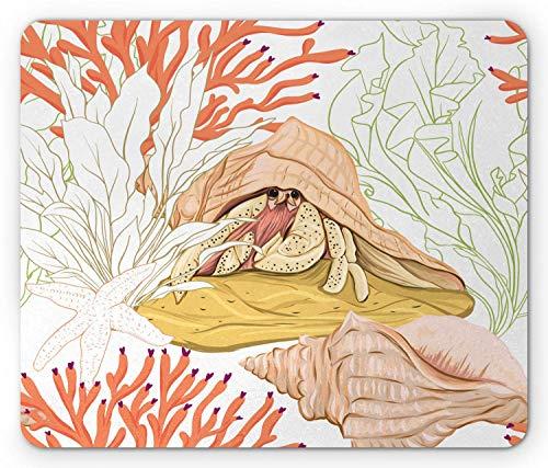 Mousepad Aquarium Detaillierte Einsiedlerkrebs Skizze Design Mit Muschel In Aquatic Wildlife Weiß Und Gedruckt Personalisierte Maus Matte Rechteck Spiel Rutschfest 25X30Cm Compute