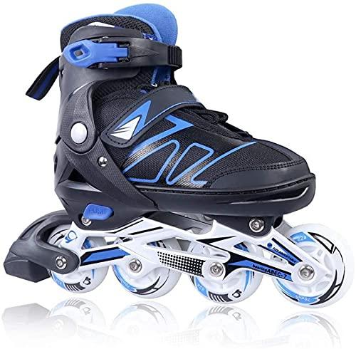 Adjustable Inline Skates for Girls and Boys with Light up Wheels Beginner Skates Safe and Durable Inline Roller Skates for Kids and Adults, Men and Women Blue Size 12