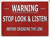 ストップルックリッスンティンサイン壁の装飾メタルポスターレトロプラーク警告サインオフィスカフェクラブバーの工芸品