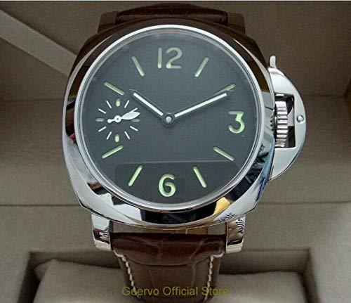 LIGUANGWEN Asia 17 Joyas Movimiento Mecánico De La Mano del Viento Hombres S Luminosos Verde Reloj De Los Relojes De Marcación Negro 44mm Mecánicos
