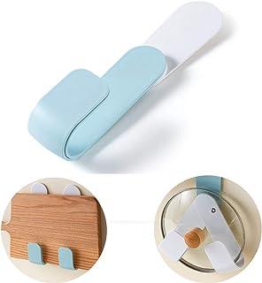 Estante giratorio para tapa de ollas de pared, 2 piezas de estante de cocina de pared, sin perforaciones, tamaño ajustable, utilizado para utensilios de cocina, almacenamiento 1 pieza azul