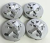 AOWIFT 4 tapacubos de aleación de 60 mm para Peugeot 106 107 206 207 306 307, color plateado
