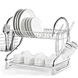Glotoch 2 Tier Dish Drying Rack Kitchen Organizer Storage, 2021 Upgraded Base with Chrome Rustproof Coating, Cup Holder and Utensil Holder and Water Catching Drip Tray 16.5 x 10 x 15 Inches