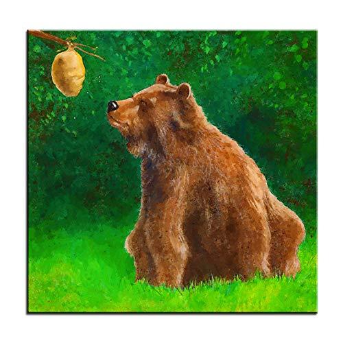 Groot formaat Afdrukken Schilderij honing en beer Muurschildering Wall Art Foto voor woonkamer schilderij-40x40cm Geen frame
