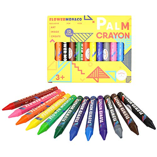 12 Colors Toddler Crayons Ages 2-4, Nontoxic Large Crayons, Easy to Hold Washable Crayons for Toddlers, Safe for Babies, Kids and Children Flower Monaco