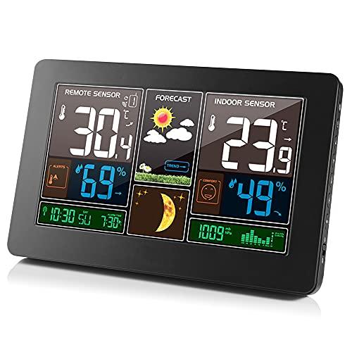 Romacci Estação meteorológica sem fio interna externa 3 em 1 Termômetro meteorológico Higrômetro Barômetro Monitor de temperatura ambiente alimentado por USB Medidor de umidade operado por bateria Medidor de pressão de ar com previsão do sensor