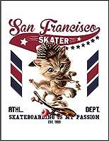 【FOX REPUBLIC】【スケートボードをする猫 ねこ】 白光沢紙(フレーム無し)A3サイズ