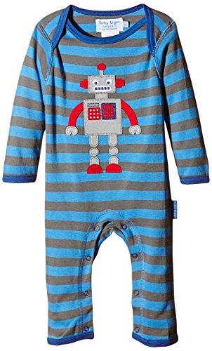 Toby Tiger 100% Organic Cotton Super Soft Robot appliqué Sleepsuit. Combinaison, Bleu-Bleu, 0-3 Mois Bébé garçon