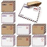 HOSTK 80pcs Mini enveloppes en papier Kraft, cartes-cadeaux vintage, invitations cartes postales Notes de fête d'anniversaire de mariage, cartes de vœux de nouveauté avec 8 motifs