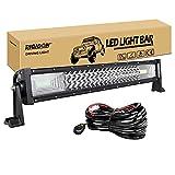 RIGIDON Barra de luz led, 12V 24V 22 pulgadas 270W, 7D Tri fila Barras luminosas led y kit de cableado para off road camión coche ATV SUV 4x4 barco, Foco Inundación Combo, lámpara de conducción 6000K