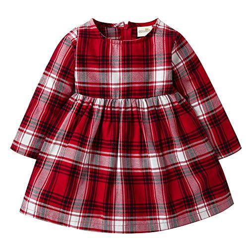 LENGIMA Bébé Filles Manche Longue Plaid Rouge Princesse Robe Tenue Printemps Size 90(12-24 Monate) (Plaid Rouge)