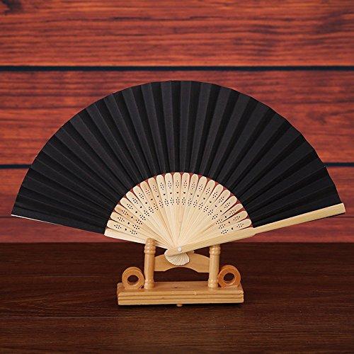 99native Handfächer, Damen Handheld Gefaltet Fan, Chinesischer Vintage Klassisch Blumen Stoff Silk Bambus Hollowed Faltfächer, für Kirche Hochzeitsgeschenk, Party Favors, DIY Dekoration (Schwarz)