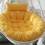 Swing chair cushion, Round Fluffy Cotton Wicker Hanging egg chair cushions Pad Patio Garden-yellow 105x105cm(41x41inch)