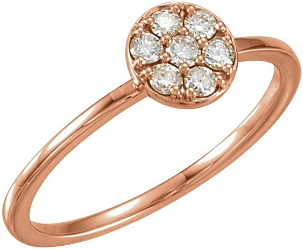 Solid 14k Rose Gold 1/5 Cttw Diamond Stackable Wedding Anniversary Cluster Ring Band (.20 Cttw) (Width = 6.7mm)