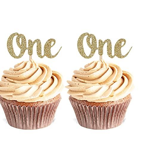 Unimall Global 24 Stück One Cupcake Topper 1 Jahr Geburtstag 1. Jahrestag Party Cake Decor Picks Geburtstagstorte Dekoration Party Cake Topper Dekoration Zubehör