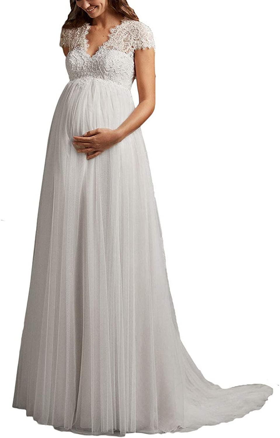 Yakey 2019 Empire Maternity Wedding Dresses for Bride Cap Sleeves Lace Appliques Bridal Gown