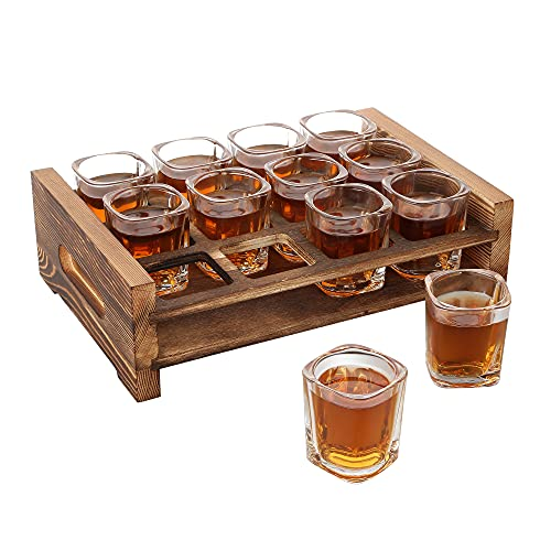 Shot Glass Holder Set with 12 Clear Shot Glasses, Vivimee 2.3 oz Square Shot Glasses Set with Rustic...