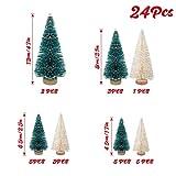 LOVEXIU Mini Weihnachtsbaum Deko,24 StüCk Miniatur Weihnachtsbaum KüNstlicher,Winter Ornamente Mini Modell Weihnachtsbaum Mini Tannenbaum füR Weihnachtsfeier Tischdeko,DIY,Schaufenster (GrüN/Weiss) - 4