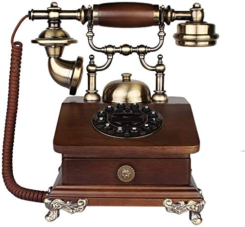 ZOUSHUAIDEDIAN Teléfono Fijo de la Vendimia, Bronce Antiguo Retro Oficina de Escritorio con Cable de teléfono Fijo con reducción de Ruido/Número Tienda, Pasado de Moda de los teléfonos clásicos Deco
