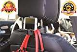 Thrifty Shopper Mobile Phone Bracket and Car Back Seat Headrest Hanger Holder Hook for Bag Purse Cloth Grocery - (Black)
