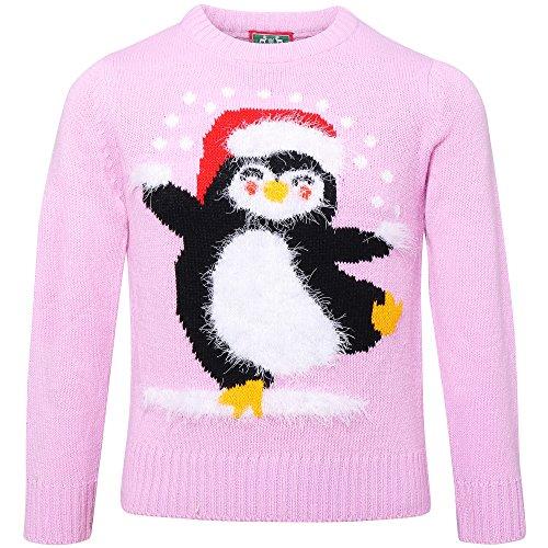 christmasshop Maglione di Natale con Pinguino- Bambini (Confezione da 2) (5-6 Anni) (Rosa)