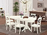 7 Pc Kitchen Set Dining Table With Self Storing Butterfly Leaf And 6 Faux Leather Seat Dining Chairs