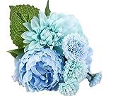 Simulación de peonía lumanuby de círculos de tela Pake flores boda decoración para el hogar, azul Tiffany, 30*9*19cm