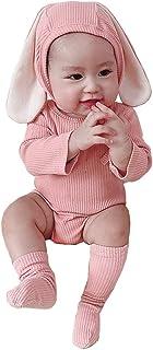 AGQT, Traje de Pascua para bebé Carnaval Infantil bebé niña niño Conejito Manga Corta Mono de una Pieza Mono con Sombrero Calcetines 3 Piezas 0-24 Meses