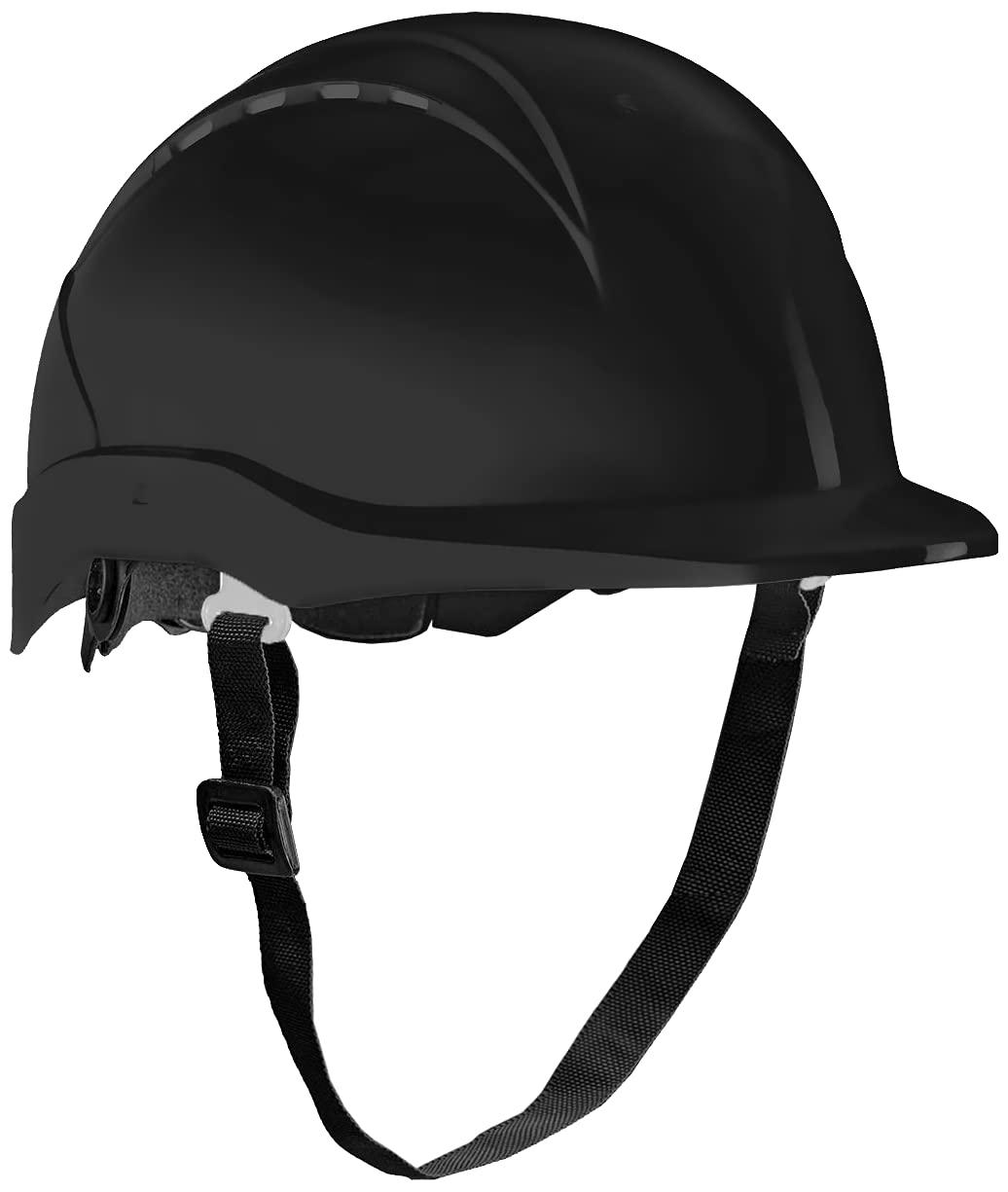 ACE Patera Casco Obra - Casco Seguridad - Casco de Trabajo con Cierre de Rosca, Ventilado y Ajustable - Negro
