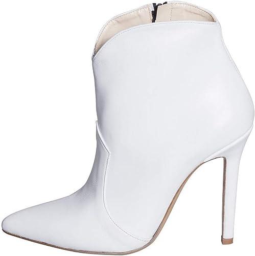 Bottines d'été en Cuir véritable Blanc Taille 36 fabriquées en Italie Talon Haut Fin 10 cm Chaussure Lindy Studio Creations LBS-15 Haute qualité