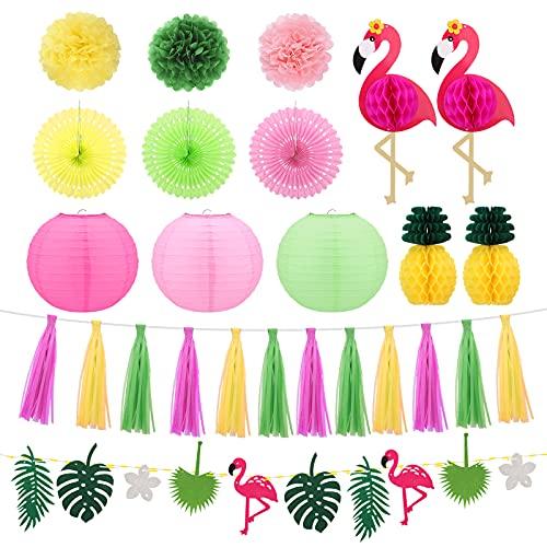 Reusable Hawaiian Party Decorations - Tropical Party Decorations - Happy Birthday Decoration - Happy Birthday Banner, Flower Garland, Flamingo - Summer,Beach,Aloha,Festival, Garden Party Decorations