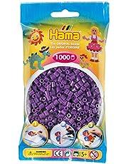 Hama Perlen 207-07 strijkkralen zakje met ca. 1.000 midi knutselparels met een diameter van 5 mm in paars, creatief knutselplezier voor groot en klein