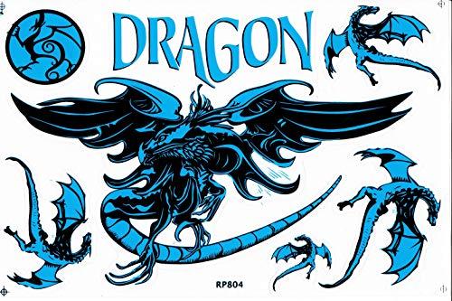 DD Fliegender Drache Dragon Schlange blau Sticker Aufkleber Folie 1 Blatt 270 mm x 180 mm wetterfest