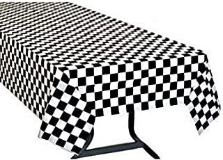 8cc2842246049 Pack of 6 Black   White Checkered Flag Table Cover Party Favor Checkered  Tablecloth