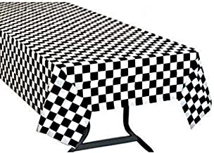 Oojami Pack of 4, Black & White Checkered Flag Table Cover Party Favor/Checkered Tablecloth/Disposable Checkered Racing Table Cover