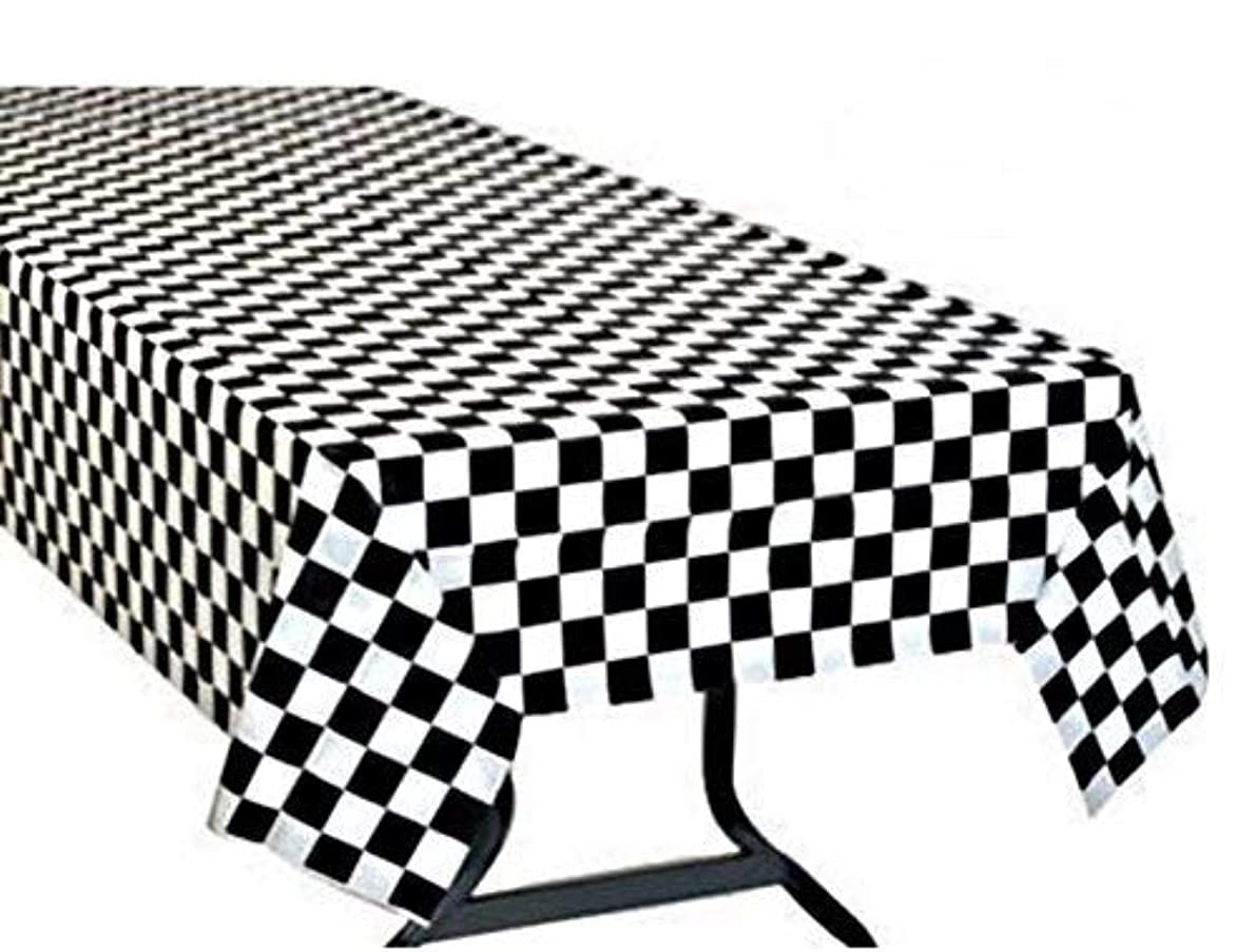 Oojami Pack of 3, Black & White Checkered Flag Table Cover Party Favor/Checkered Tablecloth/Disposable Checkered Racing Table Cover