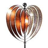 CIM Metall Windrad XL - Kinetic Spinner Heart 54cm - Abmessung: Ø 54cm Gesamthöhe: 200cm - wetterfest, pulverbeschichtet – außergewöhnliche Gartendeko
