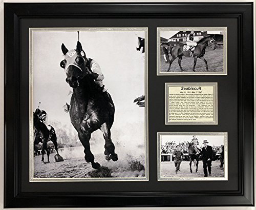 Seabiscuit- Champion Racing Horse- Black and White Collectible   Framed Photo Collage Wall Art Decor - 18'x22'   Legends Never Die