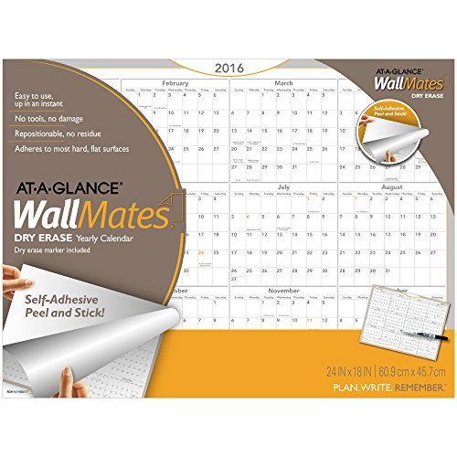 AT-A-GLANCE WallMates Yearly Wall Calendar 2017, Self-Adhesive, Dry Erase, 24 x 18 Inches (AW5060-28)