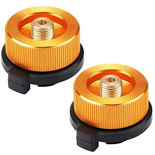 Coolty 2 Stück Camping Gasherd Adapter, Gaskartuschen Adapter für Butan-Kanister zum Einschrauben der Gaskartusche (Orange)