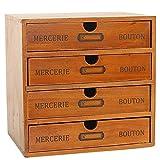 Baffect Caja de Almacenamiento con cajones de Madera Caja de cajones Vintage de 1 Piso Caja de joyería Caja de Madera...