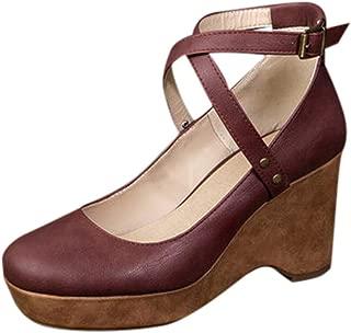 Womens Espadrille Heel Platform Wedge Sandals Ankle Buckle Strap Closed Toe Shoes Platform with Roman Sandals