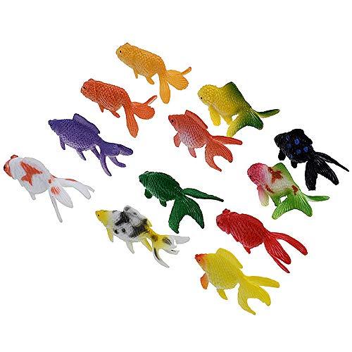 Gurxi 12 Stück Künstliche Dekoration Fisch Kunststoff Bunt Goldfisch Künstliche Ornament Fisch Bunt Goldfisch Kunststoff Ornament Fisch für Sammler von Aquarium Aquarium Dekoration (Mehrere Farben)
