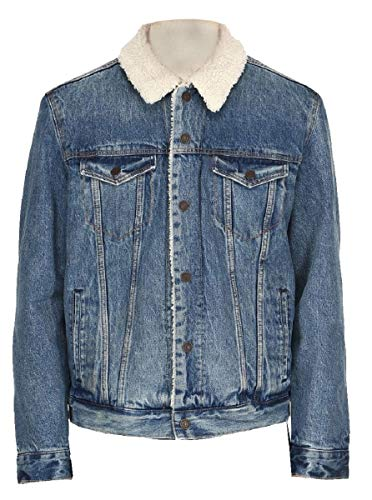 LP-FACON Mens Celebrity Casual Everyday Sherpa Blue Denim Lightweight Outerwear Jacket