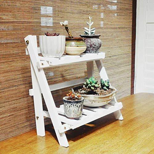 Wyi - Soporte para colgar plantas de 2 niveles, estante plegable de escalera, maceta de madera, organizador para balcón, jardín, patio, dormitorio, oficina, 35 x 17 cm (no incluye macetas), blanco
